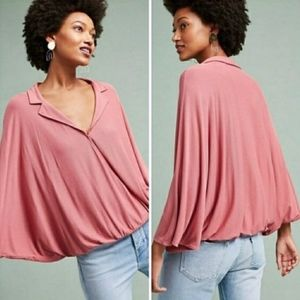 Postmark Anthropologie Pink Rose Wrap Dolman Top
